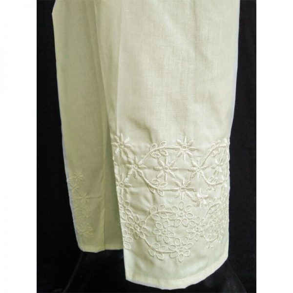 2 Embroided Off-White Trouser Free Size