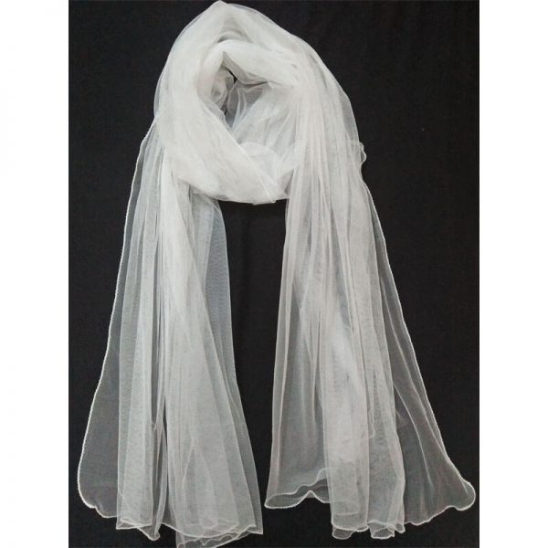 2 Net White Large Dupatta Soft With Piko On all 4 Sides