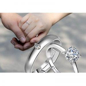 2 PC Zircon Silver Adjustable Rings