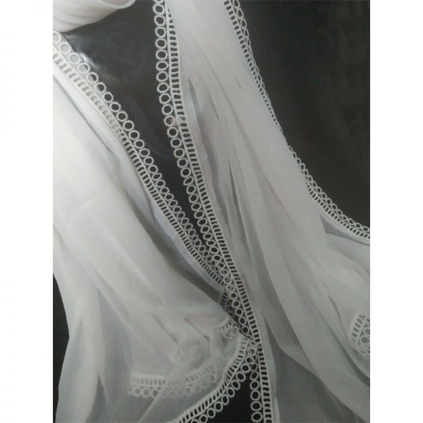 2 White Large Chiffon Dupatta With Circle Lace On All 4 Sides