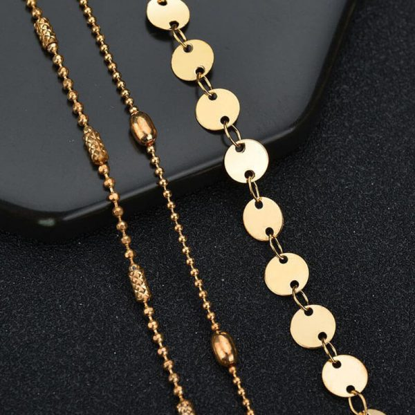 3 Pieces Gold Fashion Adjustable Anklet Set–