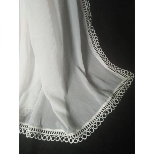 3 White Large Chiffon Dupatta With Circle Lace On All 4 Sides