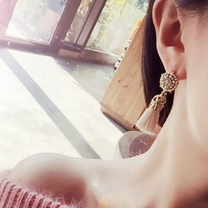 Beige Long Drop Antique Tassel Earrings