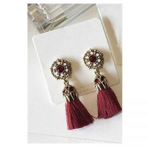 Red Long Drop Antique Tassel Earrings