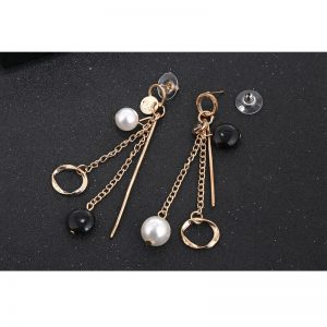 Long Drop Earring With Pearl And Star Design