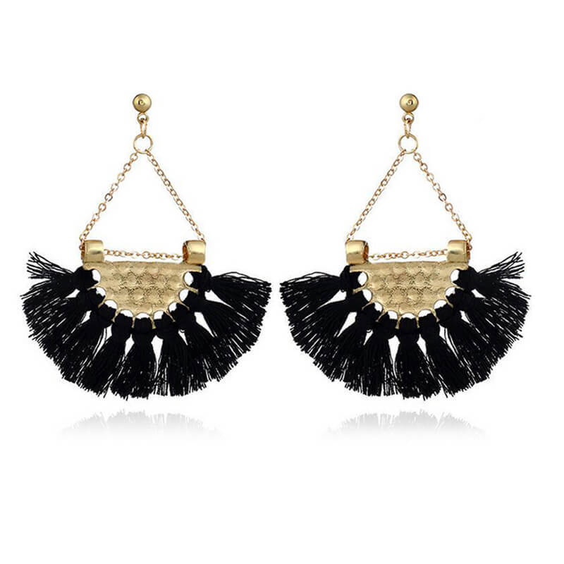 Black Tassel Long Trendy Earring