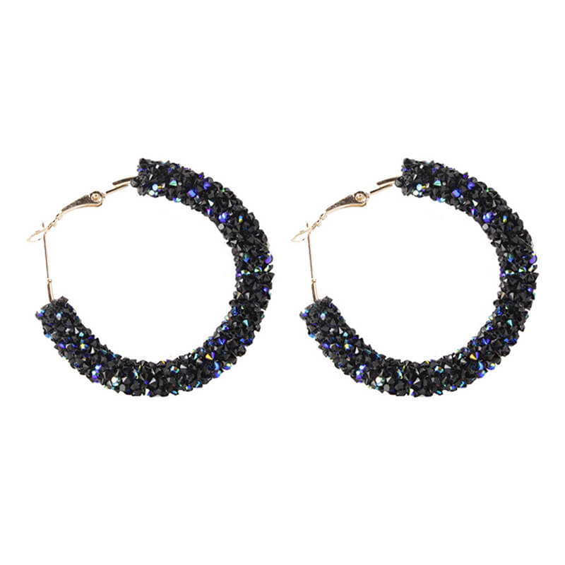 Navy Shinny Rpond Hoop Earring