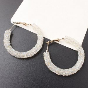White Shinny Rpond Hoop Earring -