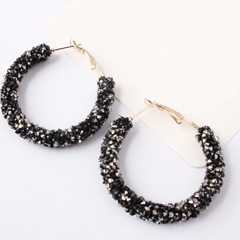 Black Shinny Rpond Hoop Earring -