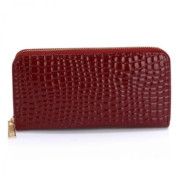 Burgundy Crocodile Pattern Purse For Women