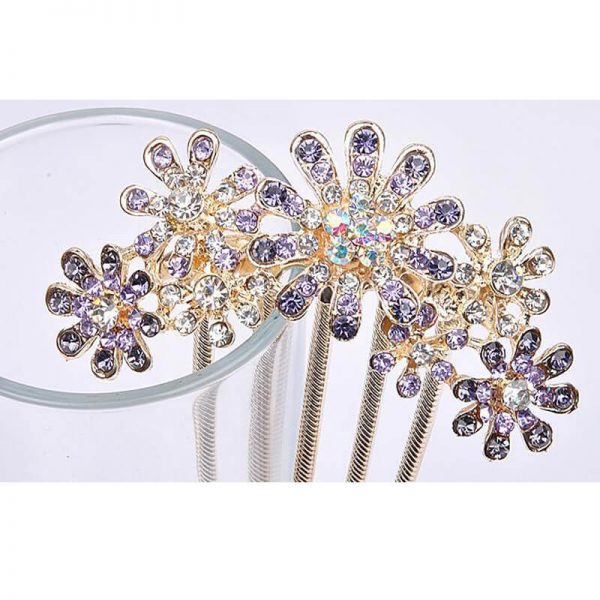 AH06- Silver Large Floral Glowing HairPin