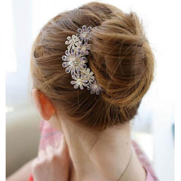 AH06– Silver Large Floral Glowing HairPin