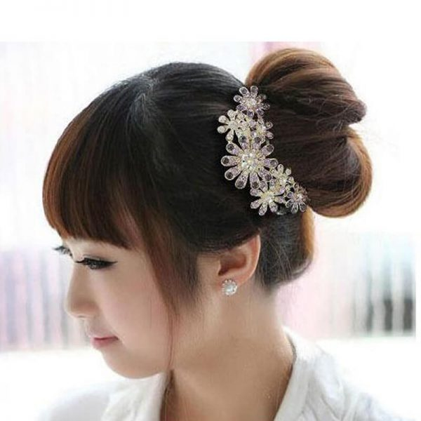 AH06— Silver Large Floral Glowing HairPin