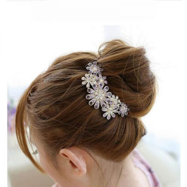 AH06 Silver Large Floral Glowing HairPin