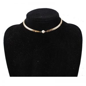 Gold Chain Ckoker Necklace With Pearl