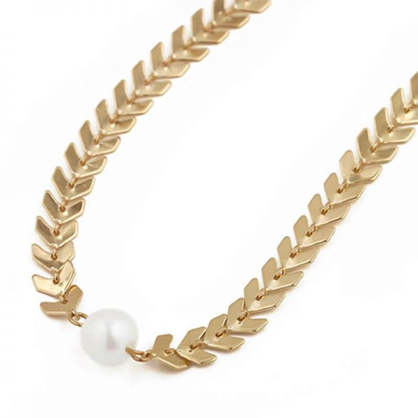 AN83 Gold Chain Ckoker Necklace With Pearl
