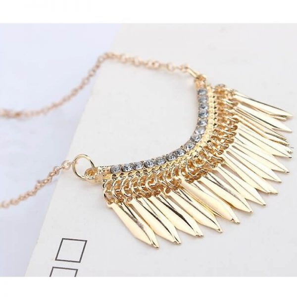AN84— Gold Long Tassel Necklace