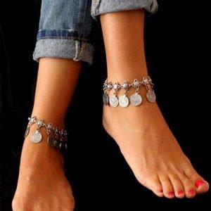 Silver Coin Anklet Adjustable Trendy