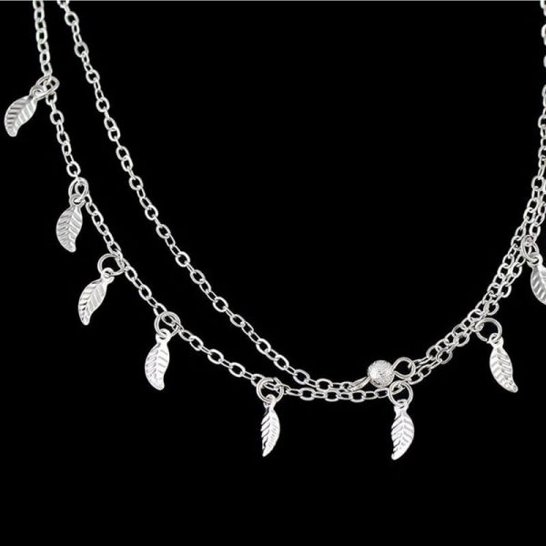 ANK17 Silver Double Chain Leaves Anklet Adjustable –