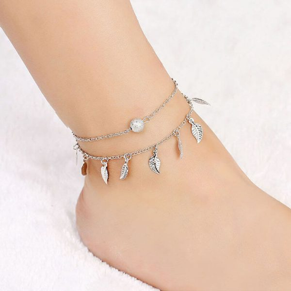 ANK17 Silver Double Chain Leaves Anklet Adjustable —