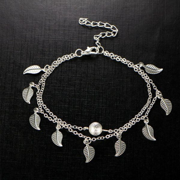 ANK17 Silver Double Chain Leaves Anklet Adjustable