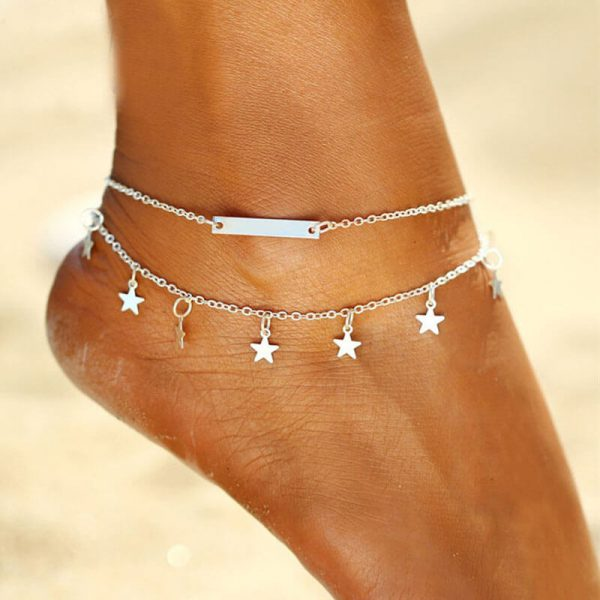 ANK18 Silver Star Design Double Chain Anklet Adjustable
