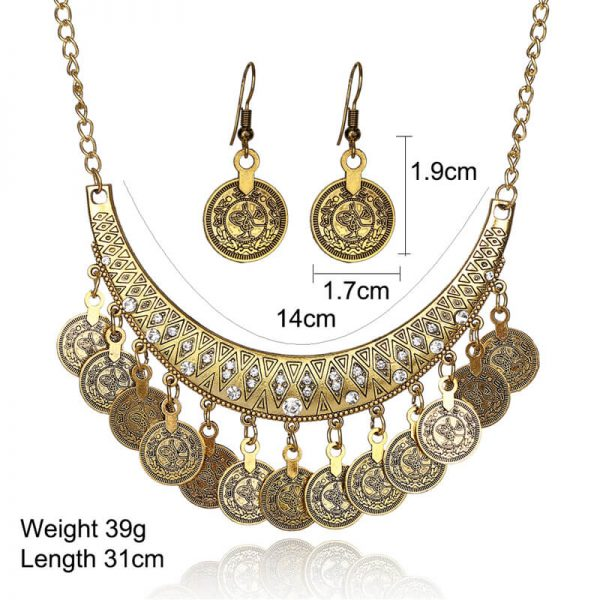 AS27- Gold Coin Necklace and Earring Set