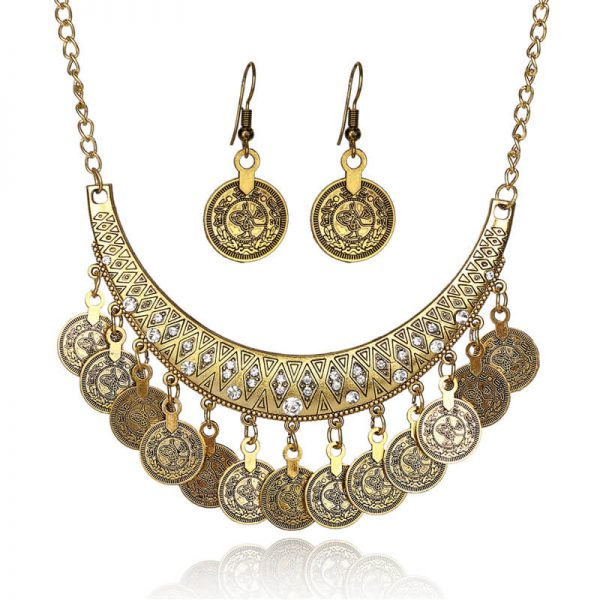 AS27 Gold Coin Necklace and Earring Set