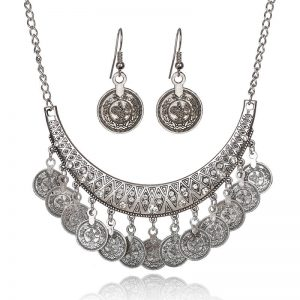 Silver Coin Necklace and Earring Set