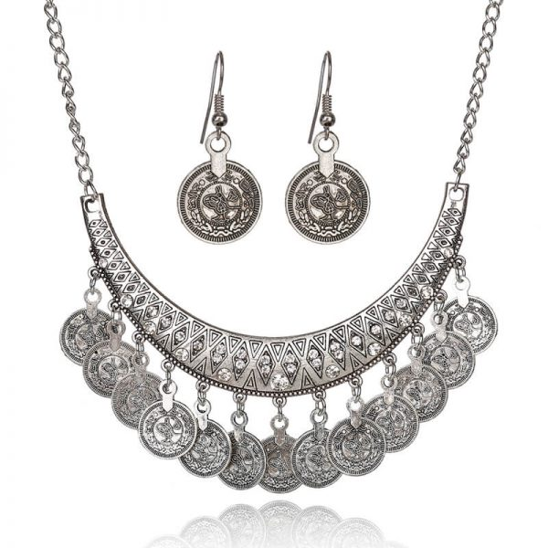 AS28-1 Silver Coin Necklace and Earring Set
