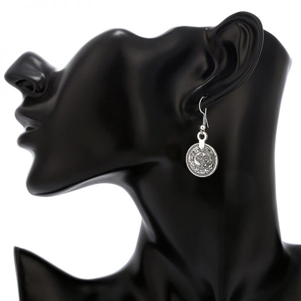AS28-Silver Coin Necklace and Earring Set
