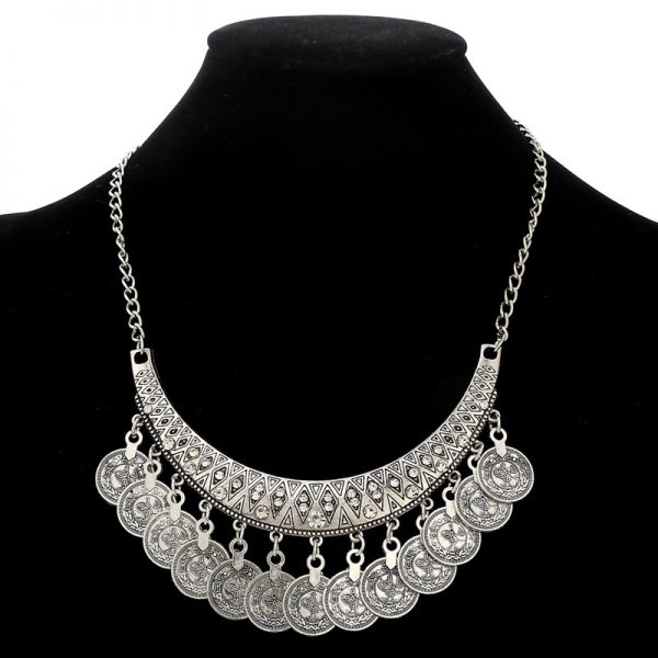 AS28 Silver Coin Necklace and Earring Set