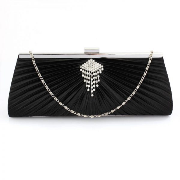 Black Clutch Bag With Crystal Decoration – LSE00221