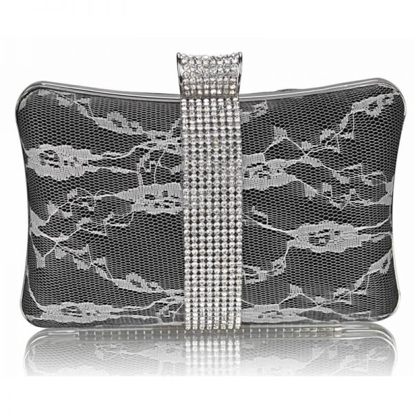 Black Crystal Strip Clutch Evening Bag – LSE00227