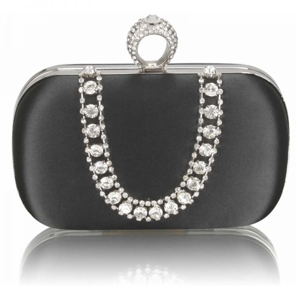Black Sparkly Crystal Satin Clutch Purse – LSE00225-