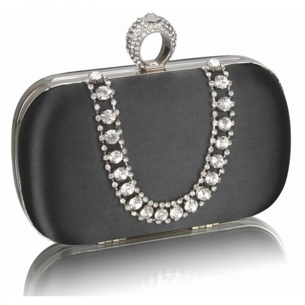 Black Sparkly Crystal Satin Clutch Purse – LSE00225
