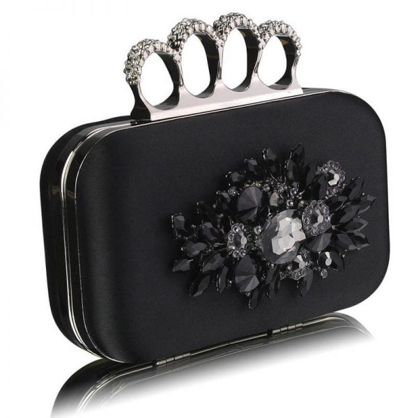 Black Womens Knuckle Rings Evening Bag – LSE00178–1