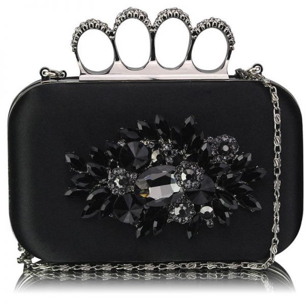 Black Womens Knuckle Rings Evening Bag – LSE00178