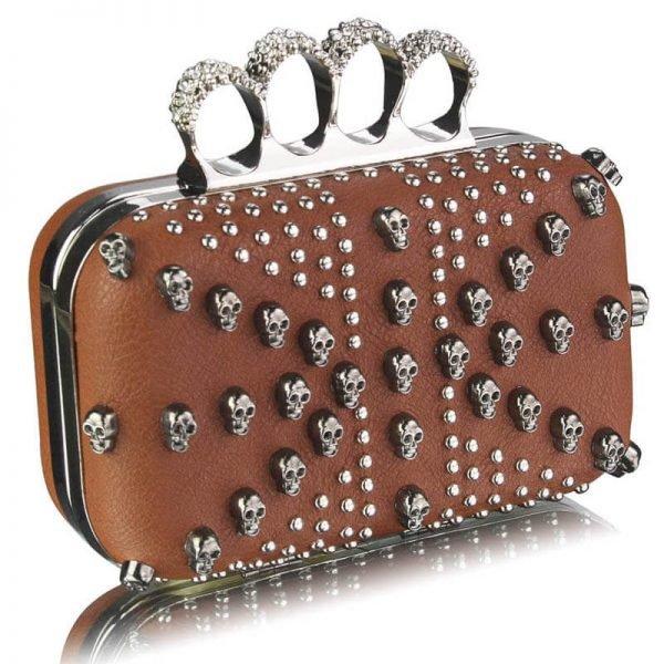 Brown Womens Knuckle Rings Evening Bag – LSE00197-1