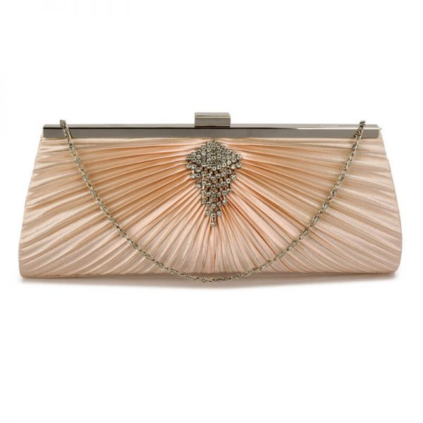 Champagne Clutch Bag With Crystal Decoration Lse00221 1