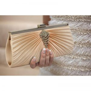 Champagne Clutch Bag With Crystal Decoration