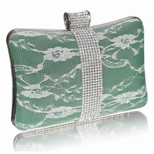 Green Crystal Strip Clutch Evening Bag