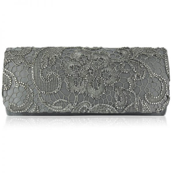 Grey Clutch Bag With Diamante Decorative Flower – LSE00138-6