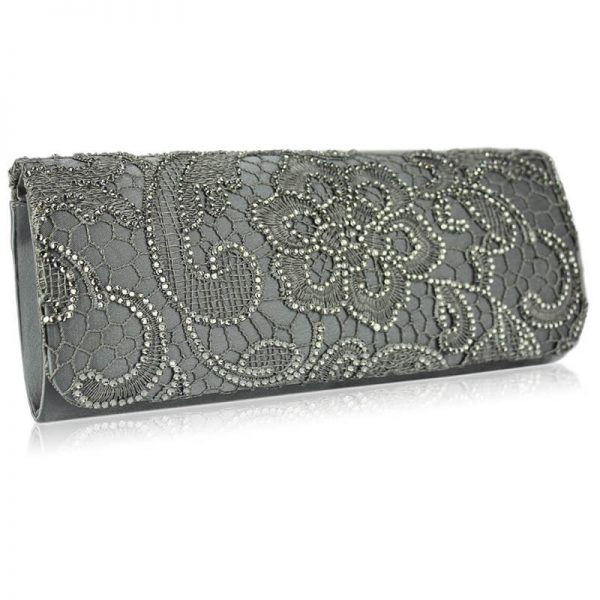 Grey Clutch Bag With Diamante Decorative Flower – LSE00138