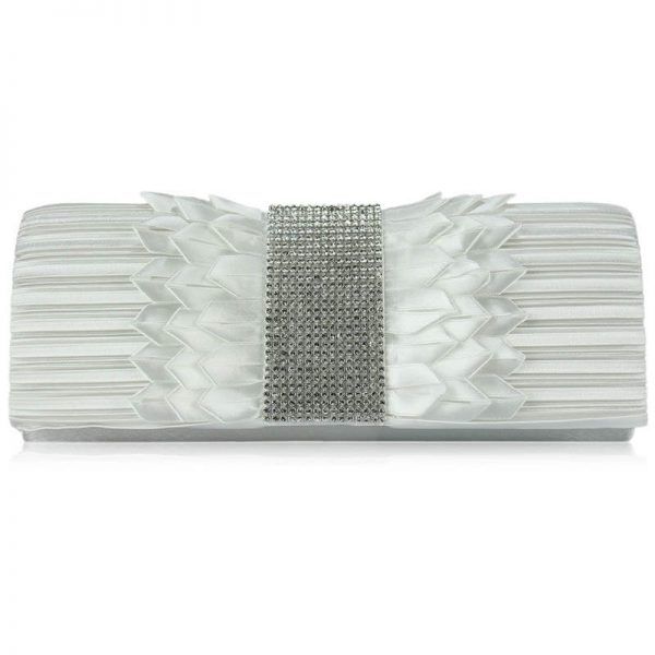 Ivory Ruched Satin Clutch With Crystal Trim – LSE00165-6