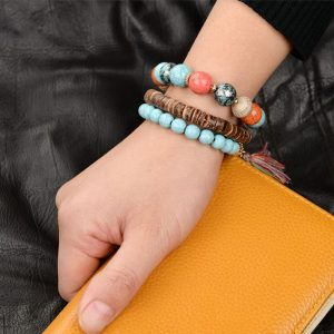 MultiColor Bracelet Handmade Wooden With Beads