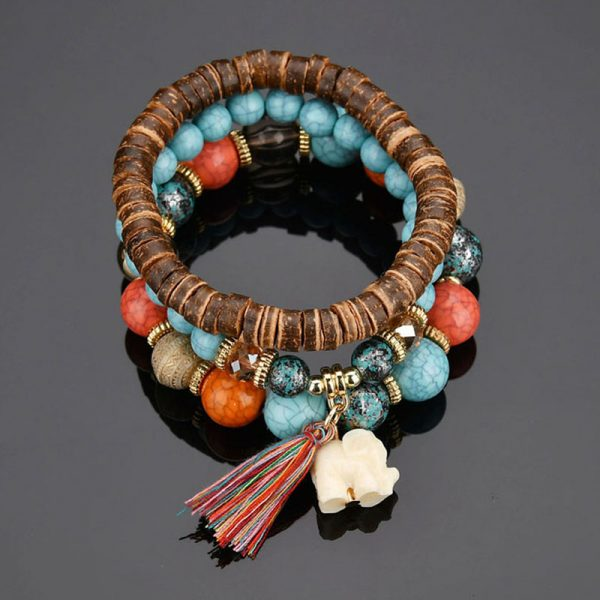 MultiColor Bracelet Handmade Wooden With Beads–