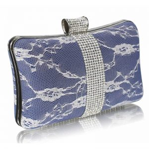Navy Crystal Strip Clutch Evening Bag
