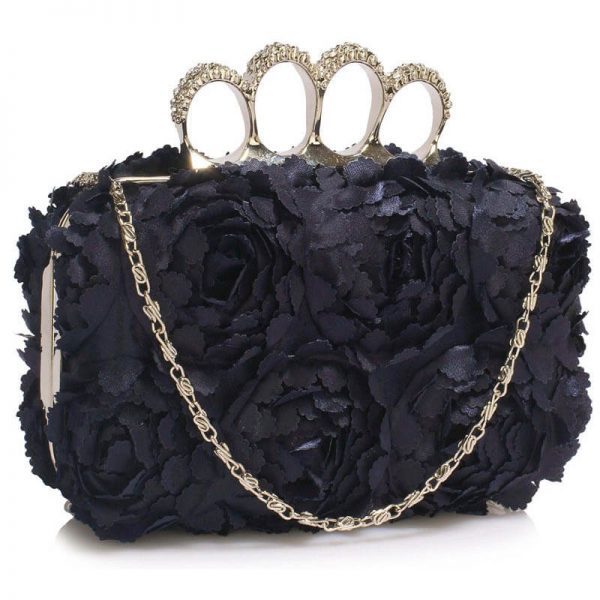 Navy Womens Knuckle Rings Evening Bag – LSE00145