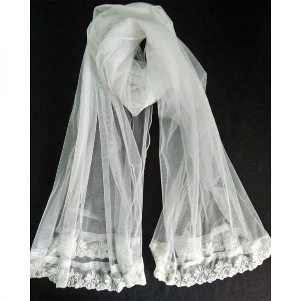 Net White Dupatta With Lace On Bottoms